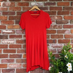 Coral Red T Shirt Dress